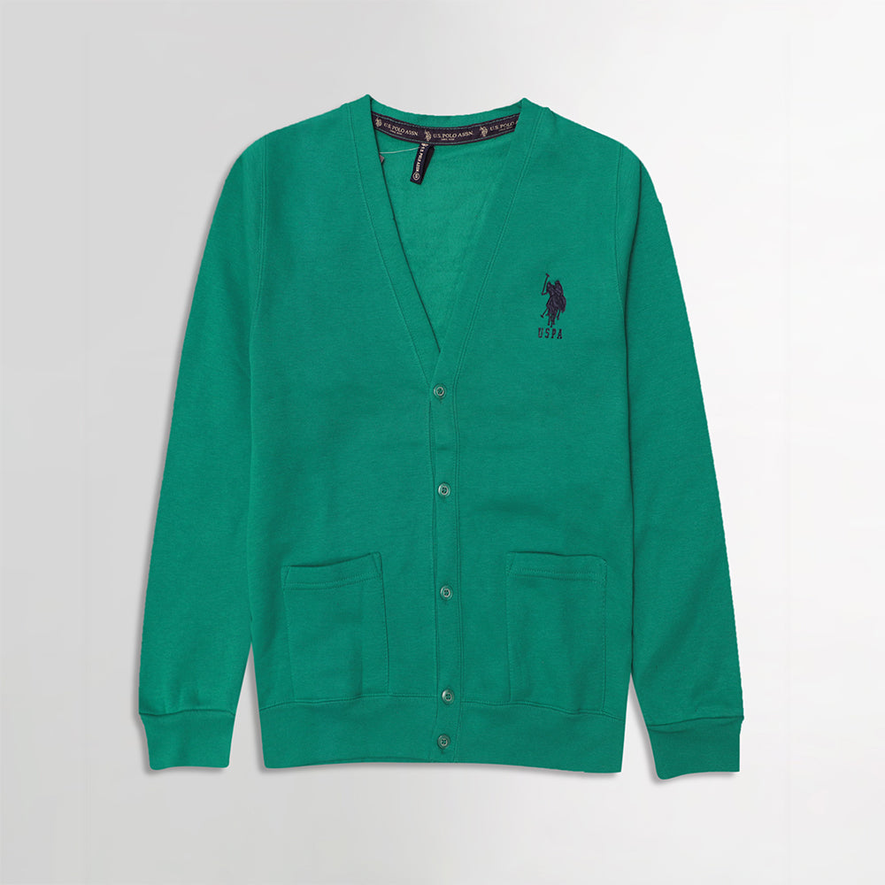 USP Peacock  Men Button up Fleece Cardigan With Signature Embroidery (US-10168)