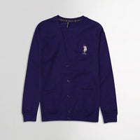 USP Purple Men Button up Fleece Cardigan With Signature Embroidery (US-10173)