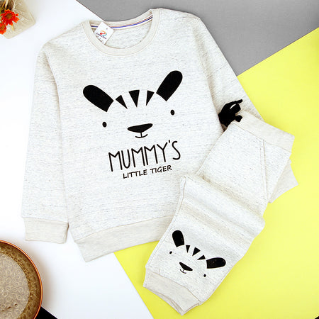 Kids Cute Face & Slogan Graphic Fleece Sweat Suite(MM-11264)