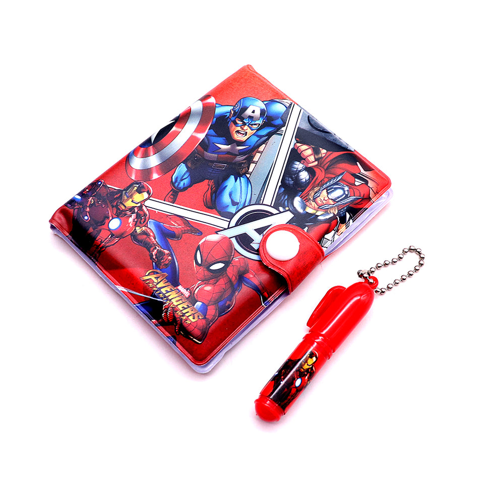 Marvel Super Hero Characters Printed Diary with Small Pen for Kids  (NB-5359)