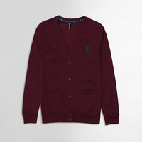 USP Burgundy Men Button up Fleece Cardigan With Signature Embroidery  (US-10171)