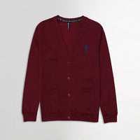 USPA Blood Red Contrast Zipper Funnel Neck Fleece jacket  (US-10175)