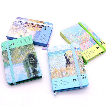 KIDS ARTISTIC NATURE PRINTED ELASTIC CLOSER MINI POCKET DIARY NOTEBOOK