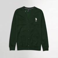 USP Bottle Green Men Button up Fleece Cardigan With Signature Embroidery (US-10167)