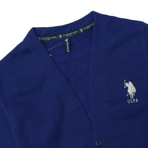 USP Blue Men Button up Fleece Cardigan With Signature Embroidery (US-10169)