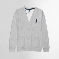 USP Grey Marl Men Button up Fleece Cardigan With Signature Embroidery  (US-10174)