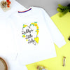 Girls Super Soft White Heavy Fleece Printed Sweatshirt (MM-11202)