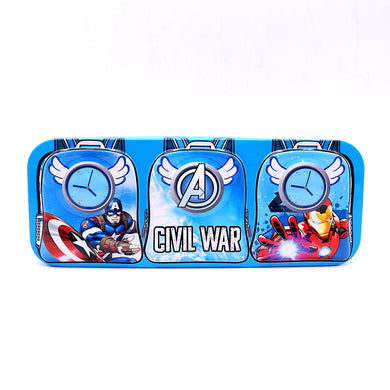Super Hero design two layers hinged metal tin kids pencil case (GB-5394)