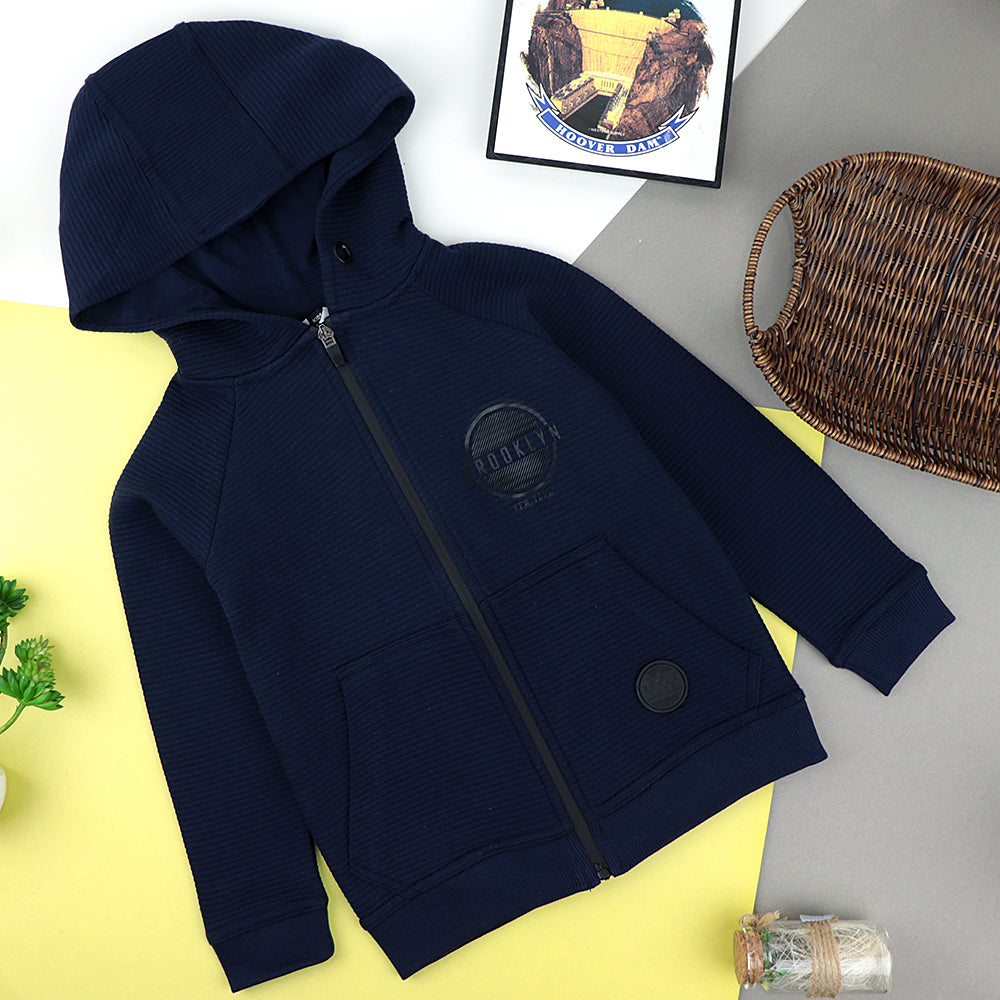 Kids Ripple fabric Zipper Hoodie with Signature Print (PP-10179)