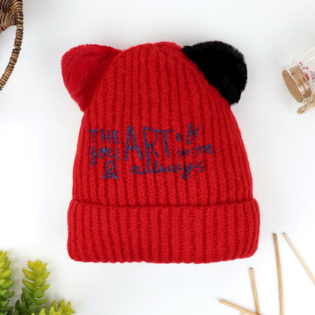 Kids Lovely Printed Winter Warm Soft  Knitted Wool Micro Fleece Lined  Cap
