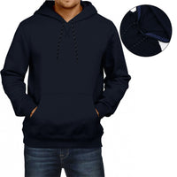 Men Navy Premium Quality Heavy Fleece Pull Over Hoodie (IN-11067)