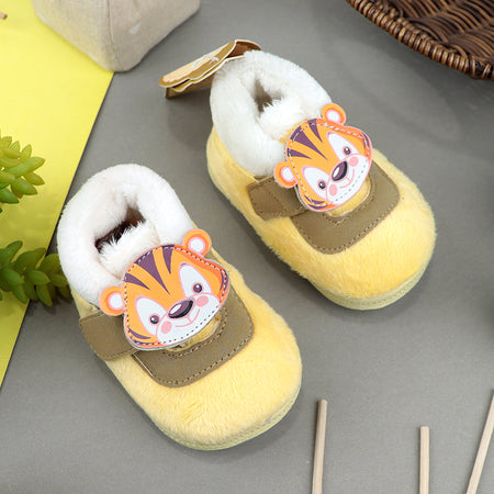 Babies Yellow Faux Fur lining Shoes  3Months to 12Months (SH-20550)