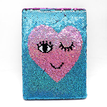 Shiny Sequin Heart Wink Decorated Notebook (GB-5319)