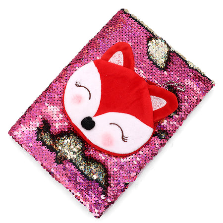 Shiny Sequin & Fox Pouch Decorated Notebook
