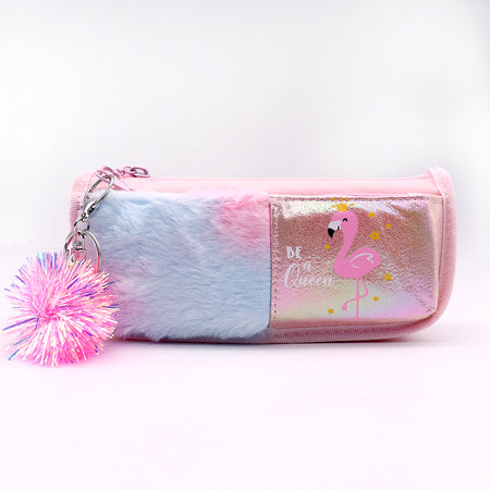 Fluffy Printed Pencil Case with Pom Pom Key Chain (GB-5311)