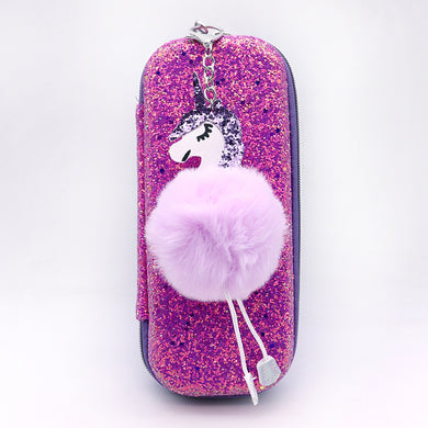 Glitter decorated Pencil Case with Pom Pom Unicorn Key Chain