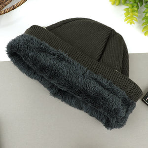 CELSO Supreme Quality Fur Lined Striped Textured fitted beanie Cap