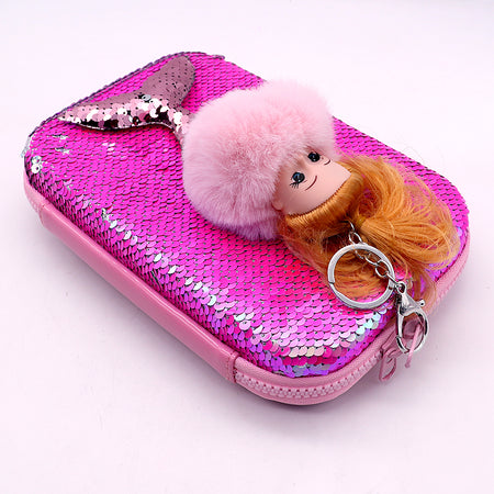 Glitter decorated Big Size Pencil Case with Pom Pom Mermaid Key Chain (GB-5312)