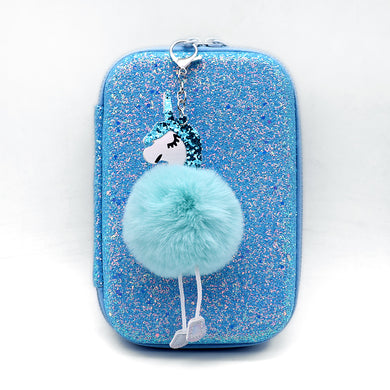 Glitter decorated Big Size Pencil Case with Pom Pom Unicorn Key Chain (GB-5322)