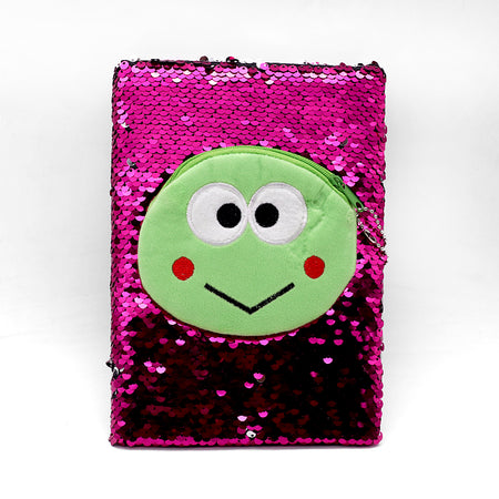 Shiny Sequin & emoji Pouch Decorated Notebook