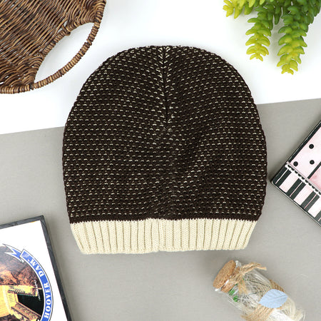 ADELA Supreme Quality Fur Lined Striped Textured fitted beanie Cap