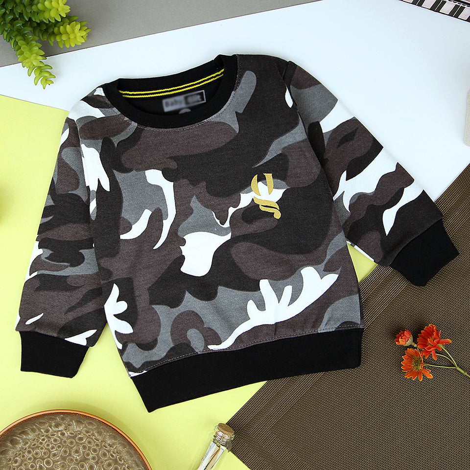 Kids All over Camo Print Fleece Sweatshirt (BG-11215)