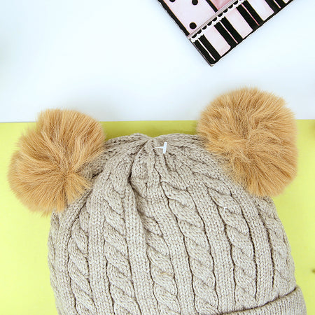 Kids Lovely Winter Warm Soft Knitted Wool Cap with Pom Pom (CP-31013)