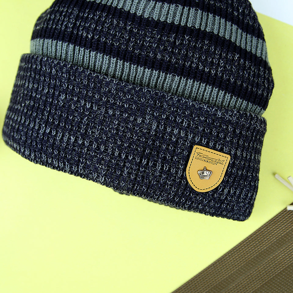 ALFORD SUPREME QUALITY FUR LINED STRIPED FITTED BEANIE CAP (CP-20846)