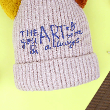 Kids Lovely Printed Winter Warm Soft  Knitted Wool Micro Fleece Lined  Cap (CA-20822)