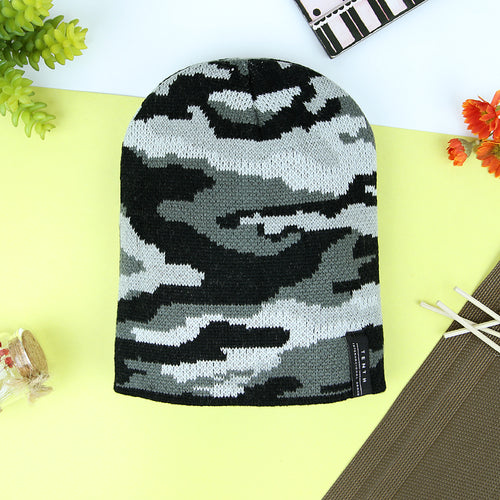Achille Camo Textured fitted Slim Fit beanie Cap (CA-20807)