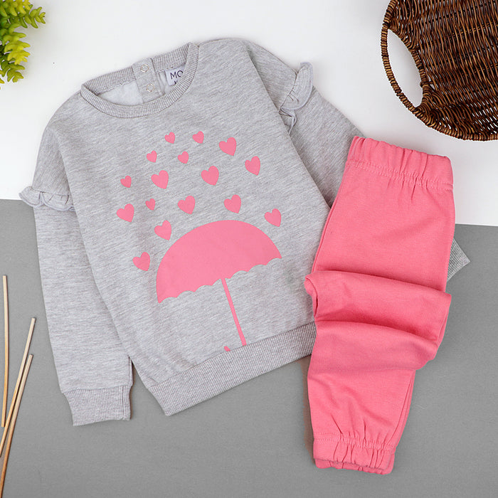 Girls  plush  2 piece Sweat suit (MO-11003)