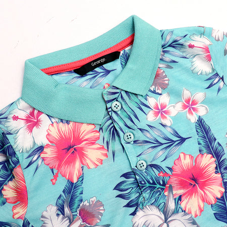 Boys All over floral pattern print Polo Shirt (GE-1083)