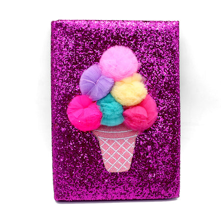 Shiny Glitter & Pom Pom Ice Cream Decorated Notebook