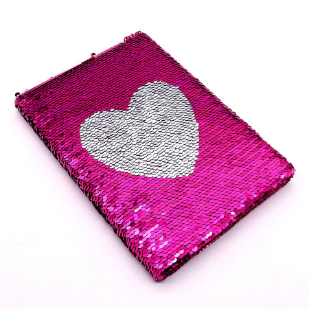 Shiny Sequin Heart Decorated Notebook