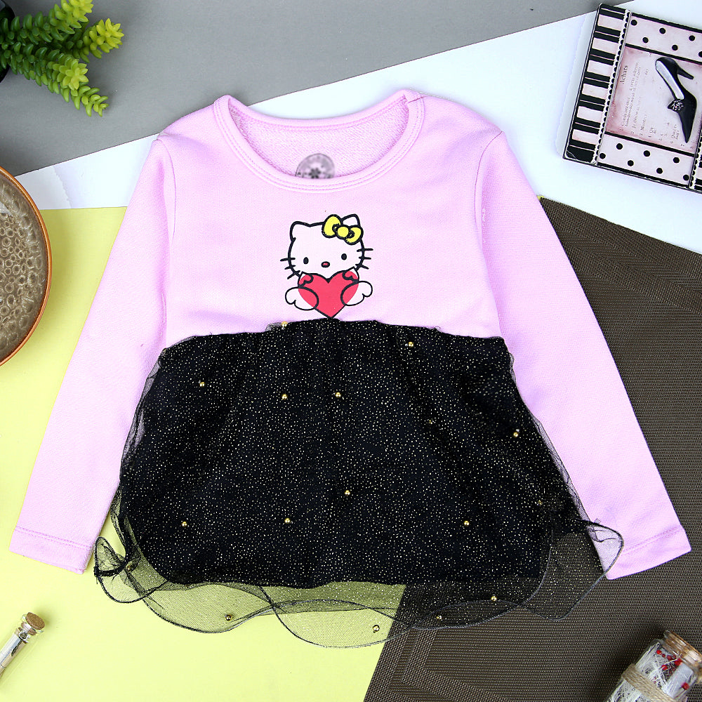 Mni-Minr Tulle Frill Jumper Girls Party Winter Frock with Kitty Print (MM-11270)
