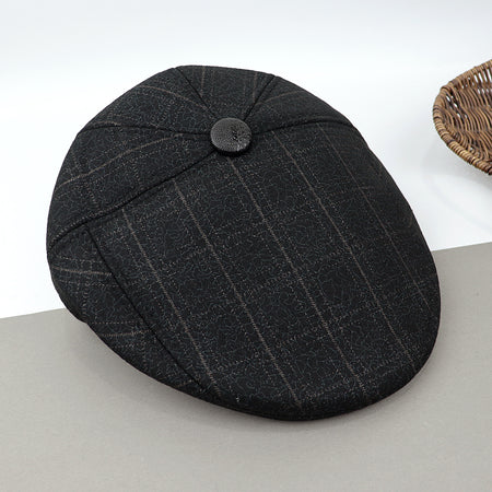 Huston Tweed Woolen Blend Classic Checked Padded Flat Cap