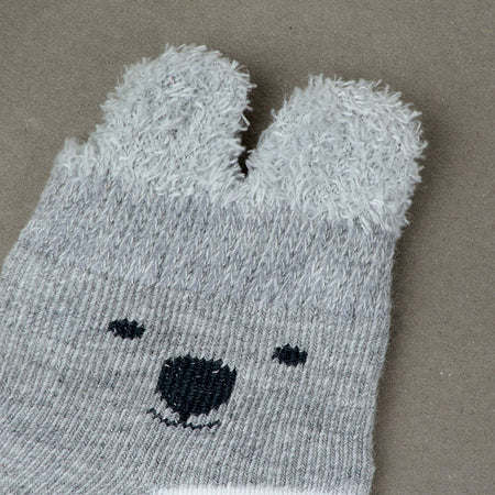 KIDS COLO BLOCK KITTY FACE WEAVED SUPER SOFT SOCKS 0-12 MONTHS (BS-10606)