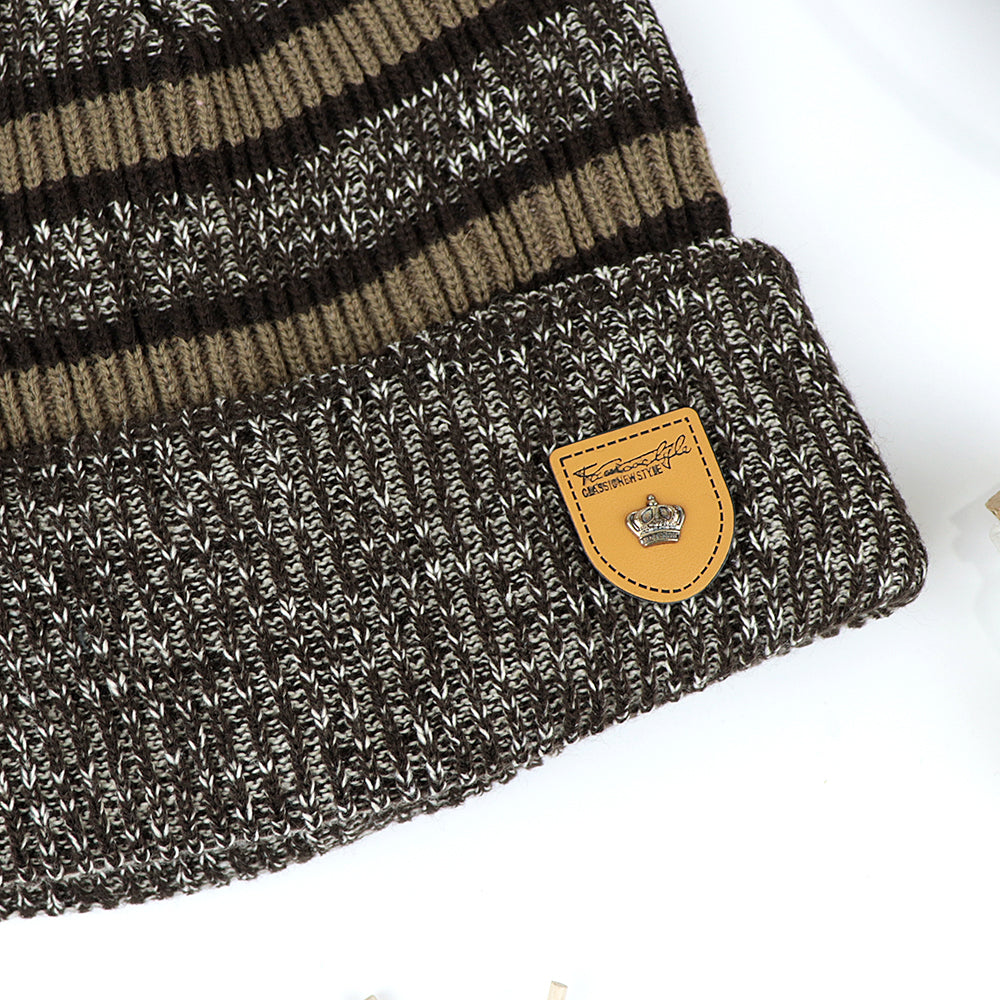 Alford Supreme Quality Fur Lined Striped fitted beanie Cap