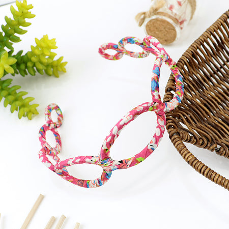 All over Printed Fabric Wrapped Chain Shaped Hair Bands