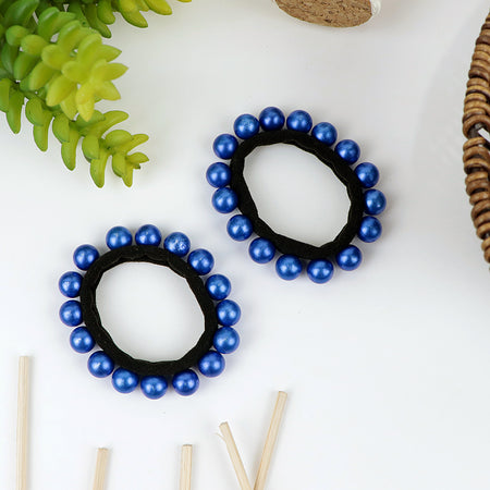 Pack of 2 Contrast pearl decorated  Hair Bobbles