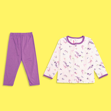 Girls all over Purple Butterfly Printed Jersey Pajama Sets (LB-4015)