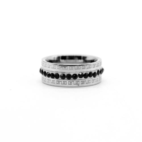 PREMIUM QUALITY SILVER COLORED DIAMANTE EMBELLISHED RING(VE-2294)