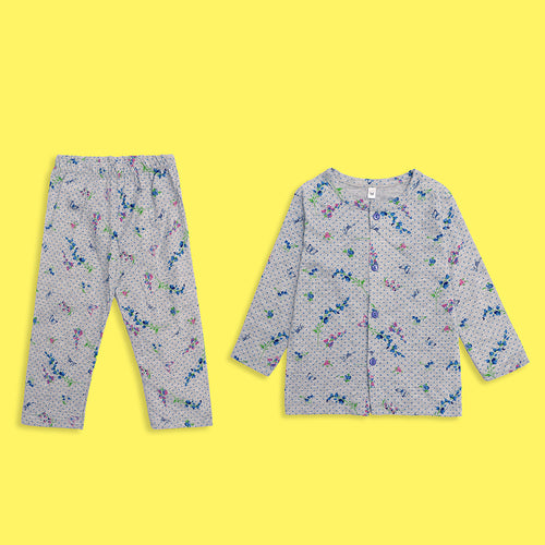 Kids all over Floral & Butterfly Pattern  Printed Jersey Pajama Sets (LB-4014)