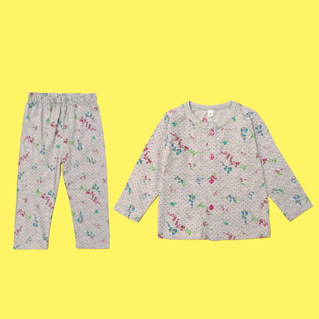 Kids all over Floral & Butterfly Pattern Printed Jersey Pajama Sets (LB-4019)