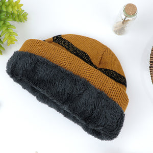 Fernando Supreme Quality Fur Lined Lurex Striped fitted beanie Cap