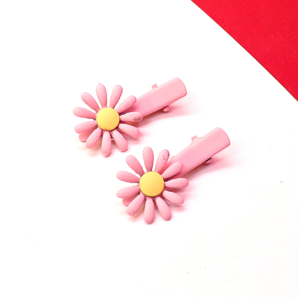 Pack of 2 Flower Decorated Alligator Hair pins