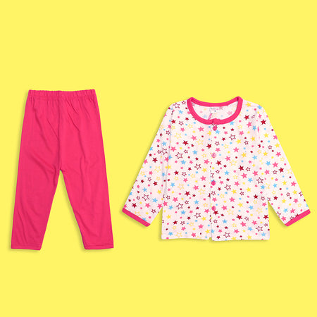Girls all over Star Printed Jersey Pajama Sets (LB-4016)