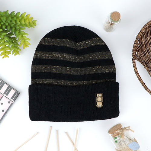 David Supreme Quality Fur Lined Striped fitted beanie Cap(CP-20661)