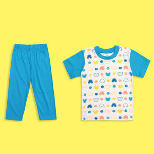 Kids  all over Teddy Bear Printed Jersey Pajama Sets (LB-4013)