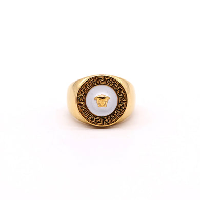 VE PREMIUM QUALITY ROUND 3D GREEK KEY MEDUSA RING (VE-2296)